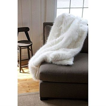 Ben and Jonah Arctic Fox Faux Fur Throw Blanket