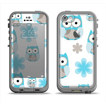 The Subtle Blue Cartoon Owls Apple iPhone 5c LifeProof Fre Case Skin Set