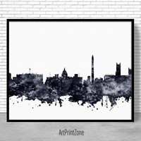 Washington DC Print, Washington DC Art, Washington DC Skyline, City Wall Art, City Skyline Prints, Office Poster, Cityscape Art ArtPrintZone