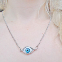 Spooky Creepy Halloween Long Eyeball Evil Eye Silver Necklace Pendant Jewelry Jewellery