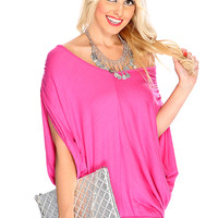 Casual Cute Fuchsia Draped Sleeves Wide Hem Party Dress