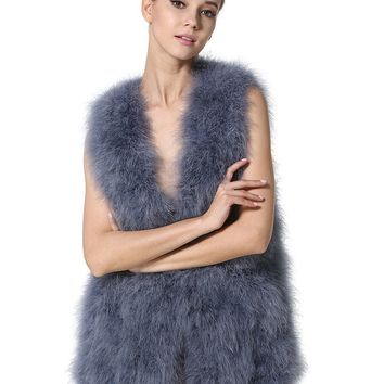 2018 New Fashion Womens Genuine Ostrich Fur Vests Spring Real Turkey Feather Waistcoat Casual Long Fluffy Fur Gilets LX00791