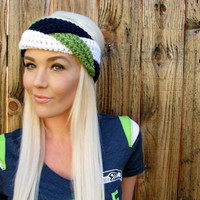 Seattle Seahawks Navy Blue, Green, White Hawks Braid Head Wrap Hair Accessory Band Earwarmer Fall Headband Fashion Girl Woman Unisex Boy Men