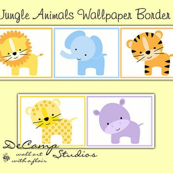 JUNGLE ANIMALS WALLPAPER Border Wall Decals Baby Boy Girl Nursery Childrens Safari Bedroom Kids Zoo Room Elephant Tiger Hippo Lion Art Decor