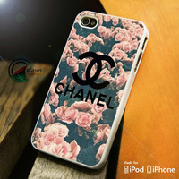 Chanel with flower iPhone 4 5 5c 6 Plus Case, Samsung Galaxy S3 S4 S5 Note 3 4 Case, iPod 4 5 Case, HtC One M7 M8 and Nexus Case