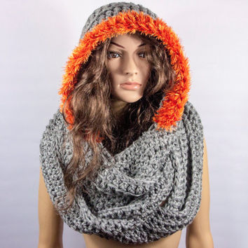 Hooded Scarf, Long Scarf, Acrylic Grey hoodie scarf, Hooded long scarf, Chunky hooded scarf by LoveKnittings