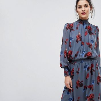 Y.A.S Floral High Neck Skater Dress at asos.com