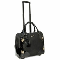 "Cabrelli Women's 15.6"" Rolling Laptop Bag - Patent Cut-Out Rollerbrief - Laptop Bags"