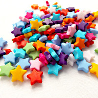 500 Star Beads, 10mm Acrylic Beads, Mixed Colors, Bulk Beads, Acrylic Star Beads, Jewelry Making, Childrens Crafts, Craft Beads 1.5mm Hole