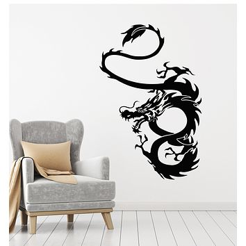 Vinyl Wall Decal Oriental Dragon Claws Horns Tail Body Stickers Mural (g3154)