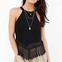Glamorous Cut-In Crochet-Trim Tank Top-