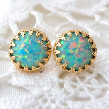 Mint opal stud earrings, Opal stud earrings, October birthstone earring, Seafoam opal stud, Bridesmaid gift, vintage earring, Gold or silver