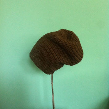 Slouchy hat, beanie, chocolate brown, womens, men, teen, unisex, fall, winter, spring, summer