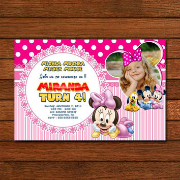 Mickey & Minnie Mouse Pink Baby Photo Invitation