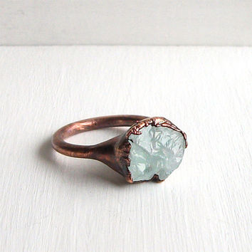 Raw Aquamarine Crystal Ring Sky Blue Size 6.5 Rough Pastel Birthstone Ring Cocktail Gemstone March Stone Mineral Pale Blue For Her Handmade