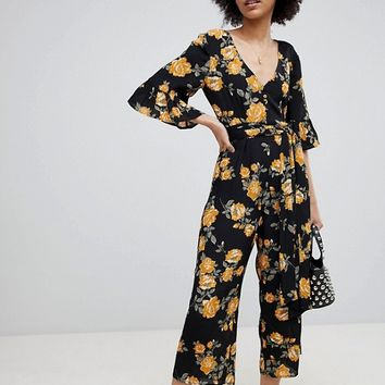 Miss Selfridge Floral Print Cullotte Jumpsuit at asos.com