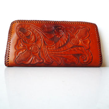 Tooled Leather Walle with Snap Enclosure