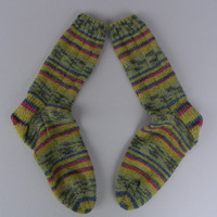 Hand knit washable woman's socks, wool/cotton blend