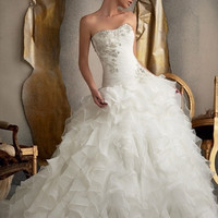 Organza Ruffles Skirt Silver Applique Bridal Gown Wedding Dress Bride Dresses = 1929517700