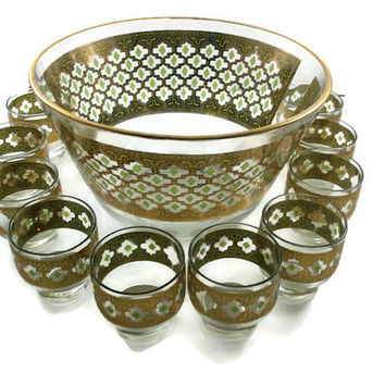Culver Valencia Punch Bowl Set /Mad Men 1960's / 10 piece / 22k Gold Green Moroccan / Barware Hollywood Regency