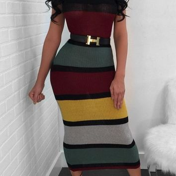 MultiColored Long Tube Dress