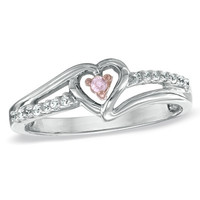 Lab-Created Pink Sapphire and Diamond Accent Heart Promise Ring in Sterling Silver - View All Rings - Zales
