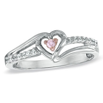 Lab-Created Pink Sapphire and Diamond Accent Heart Promise Ring in Sterling Silver