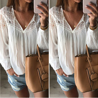 White Cut Out Lace Up V-Neck Chiffon Blouse