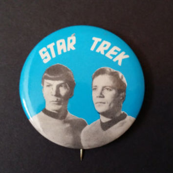 Vintage Star Trek Kirk and Spock Button Pin Back Great Retro Style