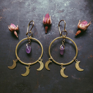 moon and amethyst dangle earrings • crystal hoop earrings - moon hoop earrings - witch jewelry - amethyst moon earrings
