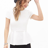 FOREVER 21 Short-Sleeved Peplum Top
