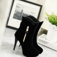 New Women Black Round Toe Stiletto Chain Bow Fashion Ankle Boots