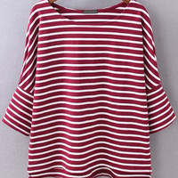 Red Striped Half Sleeve T-shirt