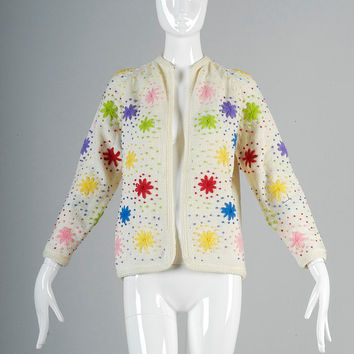 Vintage 50s Cream Knit Sweater Floral Embroidery Colorful Mid Century Mad Men