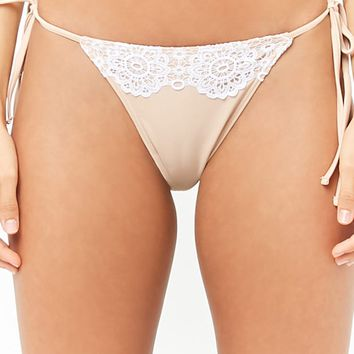 Lace-Trim String Bikini Bottoms