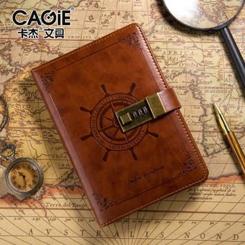 CAGIE Brand Vintage Diary With Lock Travel Journal Notebook Pu Leather Brown/Blue Fashion Sailor Sketchbook Binding Notebooks