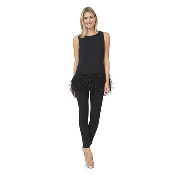 Sleeveless Feather Top in Black by Sail to Sable