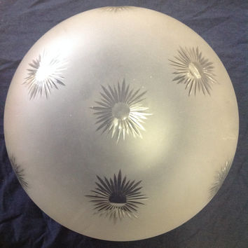 Vintage Antique Cut Glass Star Starburst Mushroom Ball Globe Ceiling Fixture Shade