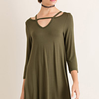 Olive Strappy T-Shirt Dress