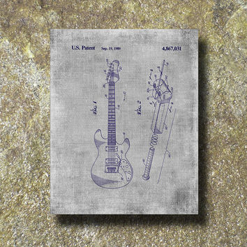Guitar Patent Art Illustration Printable Instant Download Print Poster UP001des