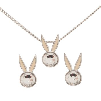 Looney Tunes Bugs Bunny Crystal Jewelry Necklace and Earrings Set