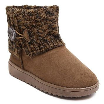 Button Design Knitted Snow Boots With Plush