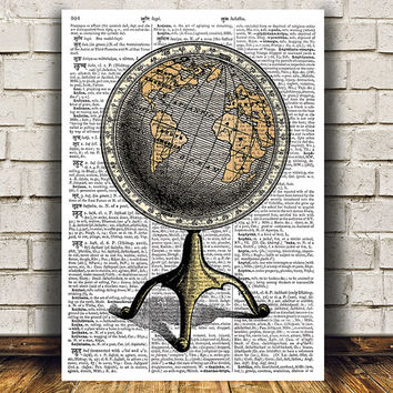 Antique poster Globe print Vintage art World map print RTA921