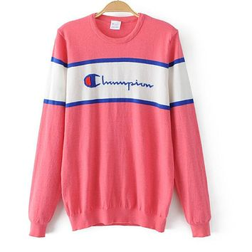 Champion Trending Women Casual Letter Print Long Sleeve Knit Sweater Top Pink I13504-1