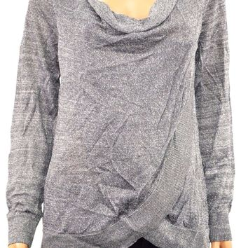 INC Concepts Women's Silver Draped Metallic Cowl-Neck Sweater Top M