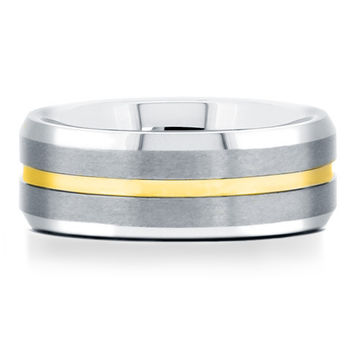 8mm Mens Tungsten Wedding Ring With Yellow Gold Channel