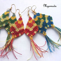 Colorful Micromacrame Earrings / free shipping