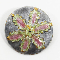 Glass Enamel on Silver Collar Pin, Collector's Flower Brooch, Gray Pink and Green Jewelry, Wearable Art, Modern Artisan Pin