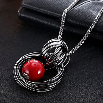 Alloy Plated Pendant Necklace