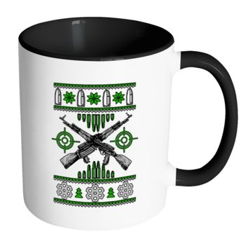 Guns & Ammo 2nd Amendment Ugly Christmas Sweater 11oz Accent Coffee Mug (7 Colors)